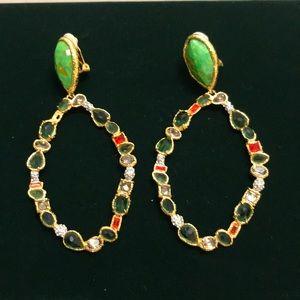 Gold Tone Multi Stone Clip Earrings